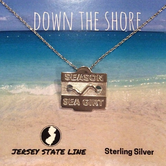 sea girt jersey shore sterling silver beach badge necklace
