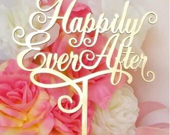 Happily Ever After Wedding Cake Topper,  A Larger Elegant Heirloom Quality topper - JOLIÉ COLLECTION - AJP301