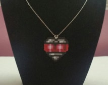 Megaman X - Heart Tank Necklace - Hama/Perler bead sprite jewlery valentines lovers gamers