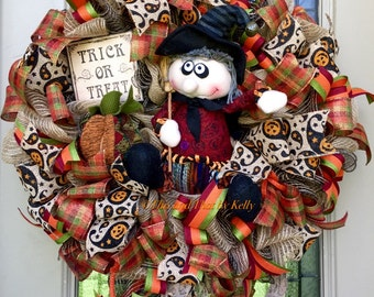 Halloween wreath with plush witch, Halloween witch wreath, Halloween wreath