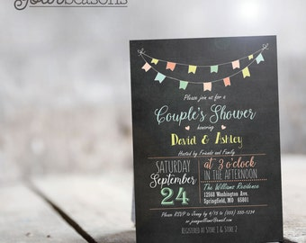 Colorful Chalkboard Couples Shower Invitation - Personalized Printable DIGITAL FILE