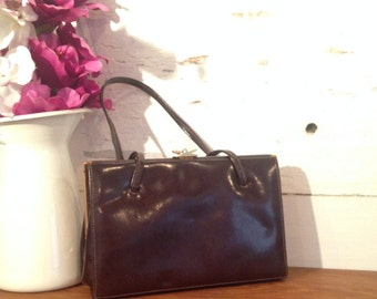 Vintage Brown 1950's Designer Ackery London Kelly Patent Leather Handbag with suede lining and nice gold clasp, used but in good condition