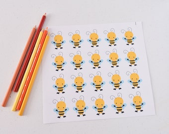 20 Bee Stickers for Box, Baby Shower Stickers, Bee Planner Stickers, Bee Decor, Bee Erin Planner Stickers