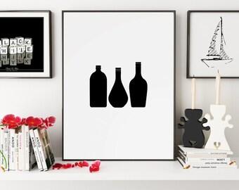 Black Bottles Print, Black Bottles Wall Art, Bottles Wall Print, Black Wall Print, Bottles Print, Bottles Poster, Monochrome print