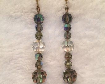 "Clear & Smokey Crystal fishwire Earrings -2"" drop - #25008"