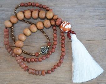 Tassel Sandalwood Long Necklace, Burnt Orange and White