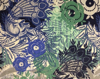 Shades of Blues and Greens Floral, Quiltologic, 100% Cotton