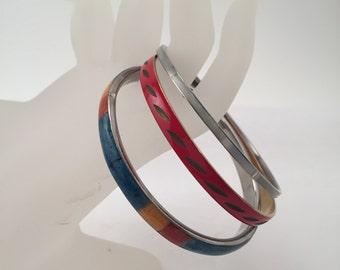 Vintage bracelets, vintage bangles, 3 colored bangles, multi colored bangles,