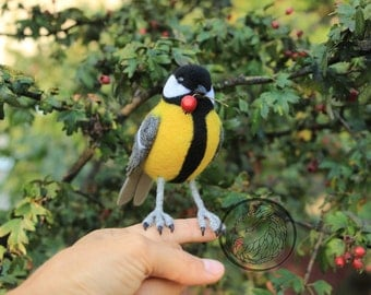 Great tit OOAK bird, Forest birds, Yellow bird soft sculpture, Faux taxidermy, Needle felted woodland bird, Art dolls, Cute bird figurine