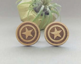 FREE US SHIPPING - Captain America Shield Cuff Links - Laser Engraved Wood - Cufflink Pair - Marvel Avengers