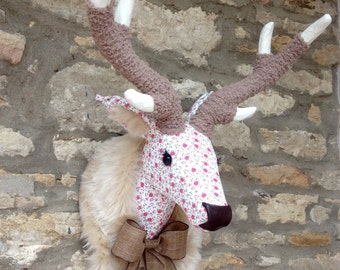 Handmade Liberty stag head faux taxidermy summer floral Liberty pink flower fabric wall mounted animal deer trophy