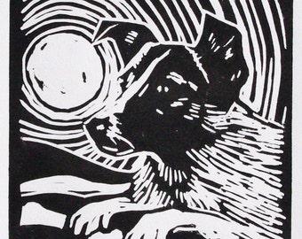 Laika the Dog Original Linocut Black + White Lino Print with Mount