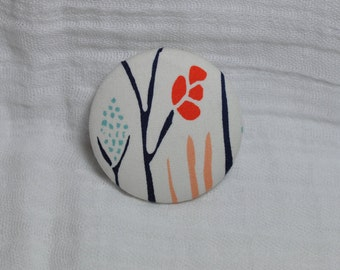 Pastel Fabric Brooch - Covered Button Pin - Fun Gift