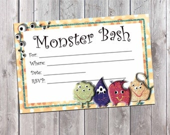 Monster Birthday Party Invitation, Fill in the blank Invite, Instant Download,
