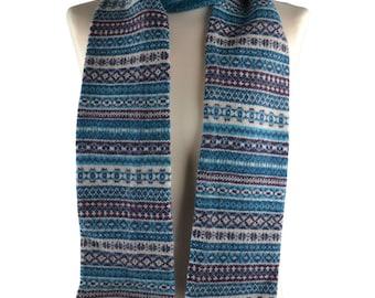 "Fair isle Scottish lambswool ""tweed"" knitted winter scarf - teal"