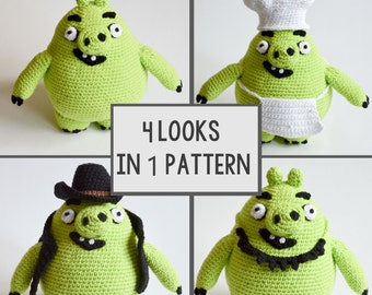 Crochet PATTERN - Green PIG - 4 looks in one pattern pattern by Krawka