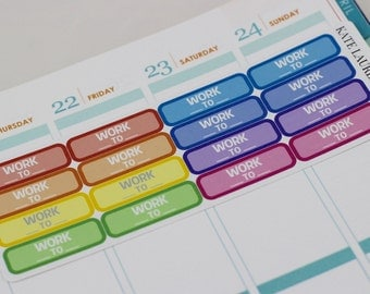 Work Planner Stickers for Erin Condren, Work Hours Stickers, Work Schedule Stickers, Quarter Boxes