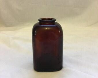 Vintage Amber Glass Snuff Jar