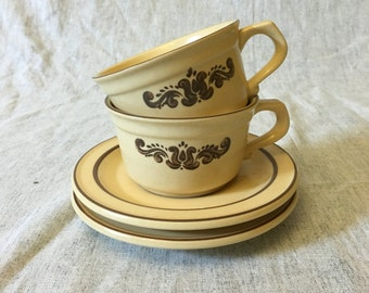 Vintage Pfaltzgraff Village Cups and Saucers, Set of 2
