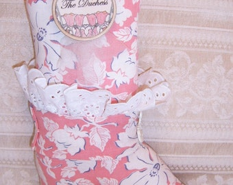 Handmade Decorative Pillow Soft Sculpture Ladies Old Fashioned Boot THE DUCHESS
