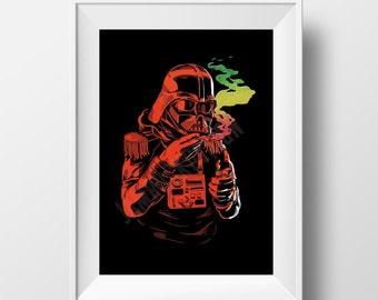 Star Wars Weed Art, Darth Vader Art, Jamaican Weed Art, Star Wars Fan Art,
