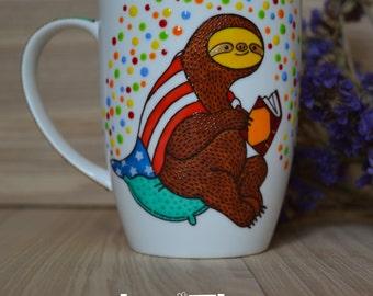 Best friend gift Sloth mug book lovers Coffee mug Cute mug Ceramic mug Sloth gift Custom flag American flag mug Sloth pillow Sloth blanket