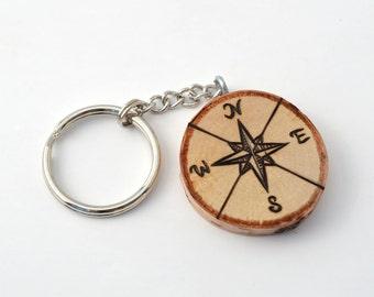 Compass Custom Wooden Keychain Pyrography Wood Burning