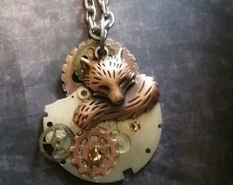 Fox Steampunk Necklace, Fox Pendant, Fox Necklace, Steampunk Jewelry, Woodland Necklace, Animal Jewelry, Animal Necklace, Woodland Jewelry