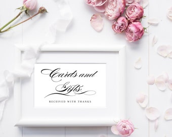 Cards and Gifts Sign - Black Font - Instant Download - 5 x 7 for weddings, bridal showers, baby showers, birthday parties, etc.