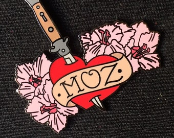 "Moz Lovers of the World, Unite and Take Over! 1.5"" Morrissey Enamel Pin."