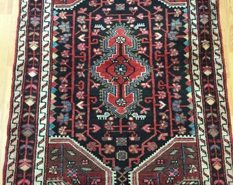 "3' x 4'3"" Persian Hamadan Oriental Rug - 1950s - Hand Made - 100% Wool - Vintage"
