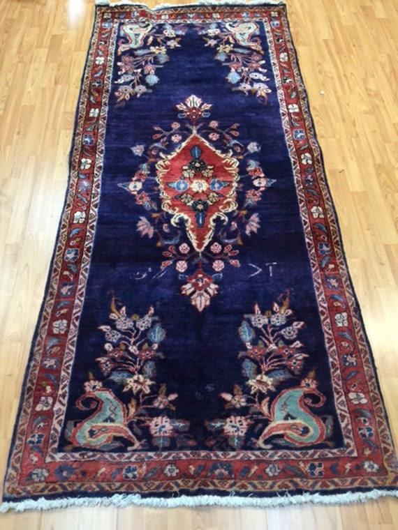 "3'3"" x 7'3"" Persian Mahal Floor Runner Oriental Rug - Hand Made - 100% Wool - Vintage - 1980s"