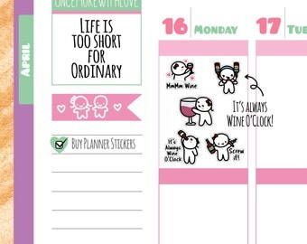 Munchkins - It's Always Wine O'Clock Planner Stickers (M144)