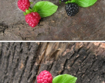 Rustic wedding bobby pins Woodland wedding headpiece Nature wedding hair pins Forest Short hair accessory Blackberry hair grips Raspberries