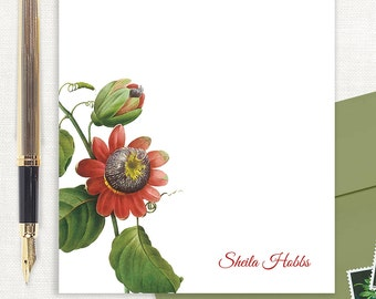 personalized notePAD - PASSION FLOWER - floral stationery - custom stationary - tropical flower - letter writing paper