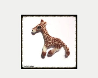 Baby Giraffe Fridge Magnet, Needle Felted Animal, Home Decor