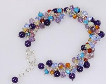 Zambian Amethyst, sleeping beauty turquoise, Ethiopian Opal, blue kyanite, mystic pink topaz wire wrapped cluster bracelet