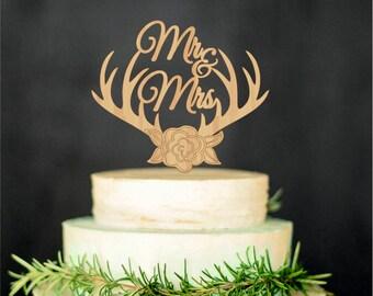 Wedding Cake Topper Deer Antlers Mr Mrs Monogram Initial Cake Topper