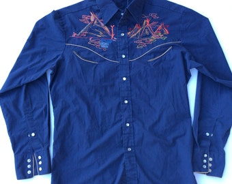 Vintage 90s Native America Design Collared Button Down Shirt Size Large