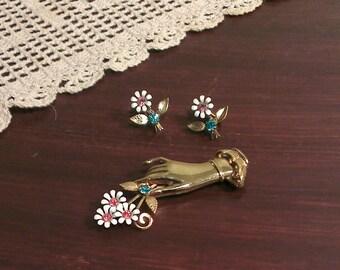RARE!  Vintage Coro Enamel Flower Rhinestone Hand Brooch - With Matching Screw Back Earrings (1940s)