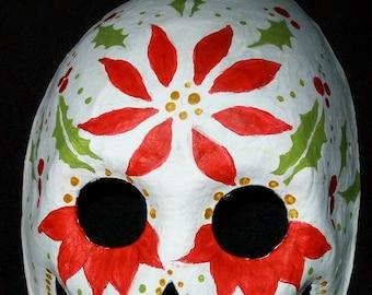 Christmas poinsetta dia de los muertos mask