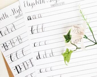 Modern Calligraphy Practice Worksheets | Uppercase and Lowercase Letters | Calligraphy Practice with Sample Letters | Elizabeth Style