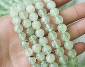 8mm Prehnite Round - Light Clear Green Genuine Natural Gemstones Full Strand A Quality