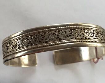 Vintage Sterling Silver 925 Paisley Design Cuff Bracelet