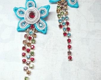 Soutache stud  earrings, Flowers earrings with crystals, Embroidered earrings, Crystal earrings, Blue earrings, FREE SHIPPING