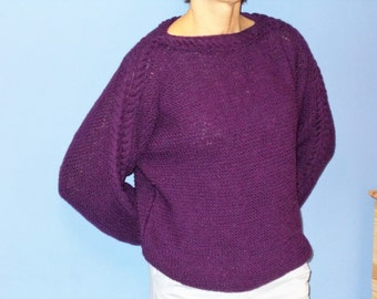 handmade, knit, purple, cable pattern sweater