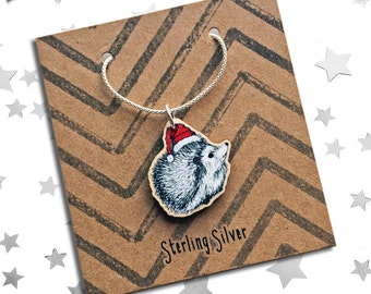 Christmas Necklace Hedgehog, animal jewellery for the festive period, ideal gift for wife, sister. Wooden charm with Sterling Silver chain