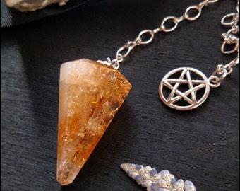 Citrine Pendulum With Pentagram Charm