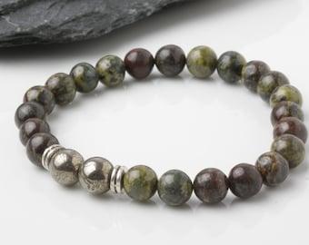 Men's Dragon blood jasper Bracelet, Pyrite Bracelet, Men bead bracelet, Mala Bracelet, Energy Bracelet, Healing bracelet, Spiritual bracelet