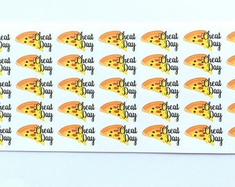Pizza Stickers, Cheat Day Stickers, Diet Stickers, Meal Stickers, Planner Stickers, Erin Condren Stickers, Happy Planner, Funny Stickers